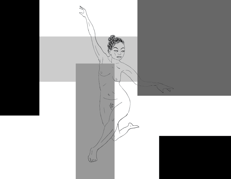 crude greyscale sketch of a nude female figure posing amongst grey blocks