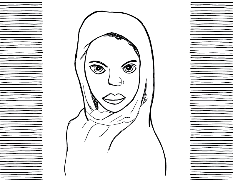 crude mono sketch of a young woman with a headscarf and nose piercing