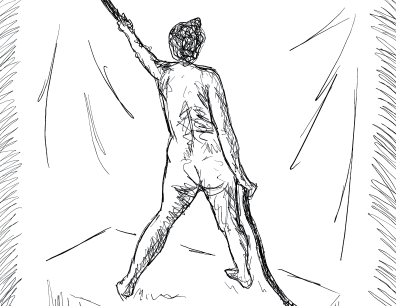 crude mono sketch of a nude female figure holding a rope
