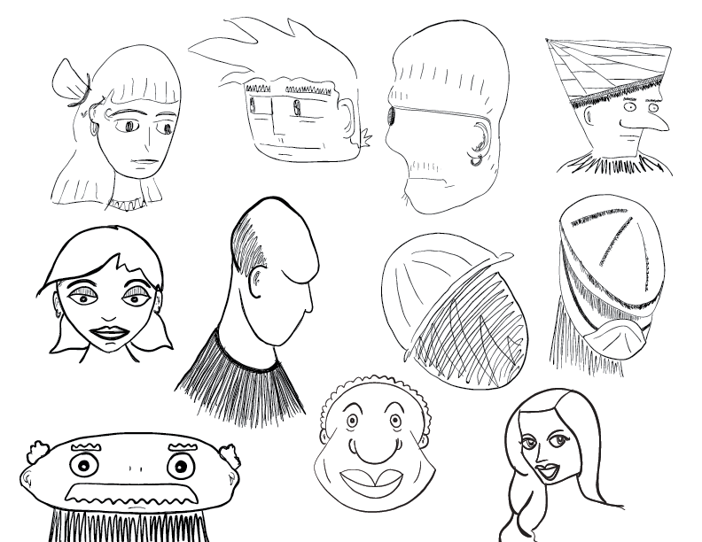crude mono sketch of a bunch of cartoon faces