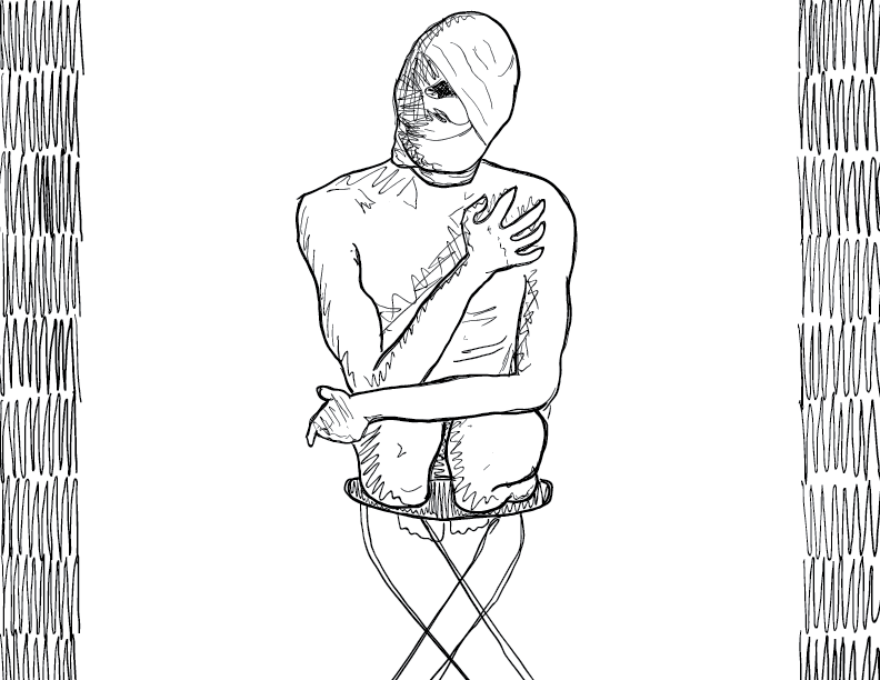 crude mono sketch of a nude male figure with bandages on his face, kneeling on a stool