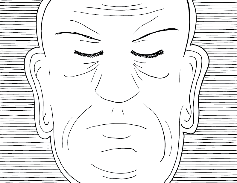 crude mono sketch of a tired authoritarian face before a series of horizontal lines