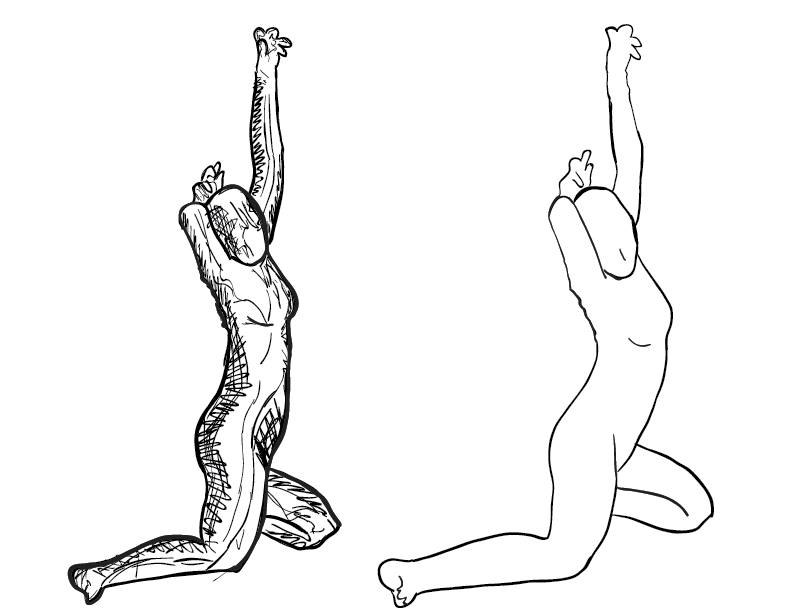 crude mono sketch and trace comparison of a body-suited faceless female figure posing