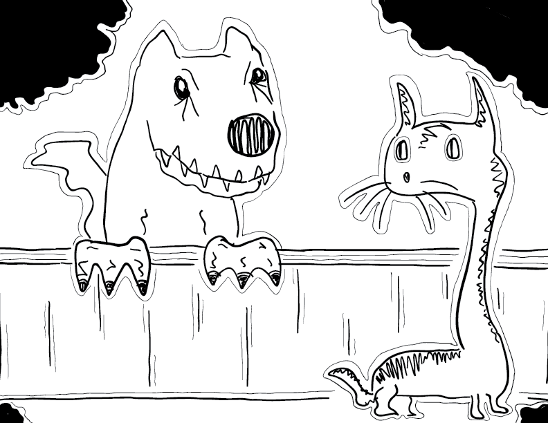 crude mono sketch of a dog behind a fence looking at a cat
