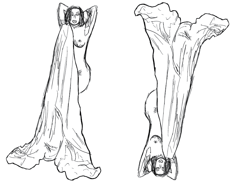 crude mono sketch of a nude female figure draped with a sheet, doubled and flipped
