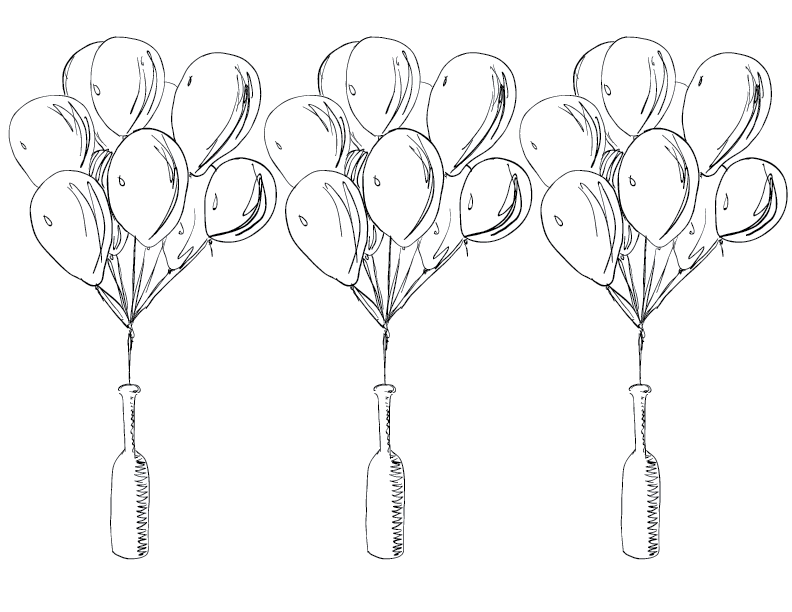 crude mono sketch of a balloon bouquet blooming from a bottle, tripled