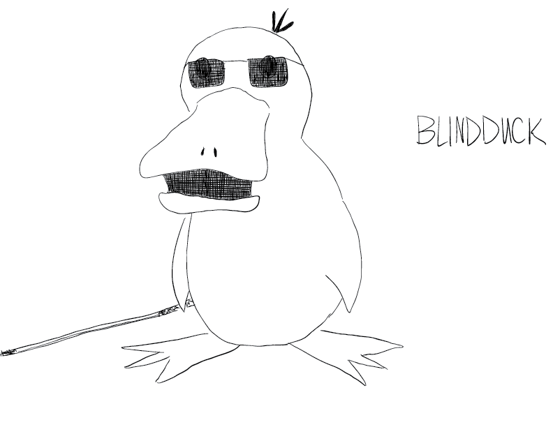 crude mono sketch of the Pokemon Psyduck, drawn without reference and with vision impairment