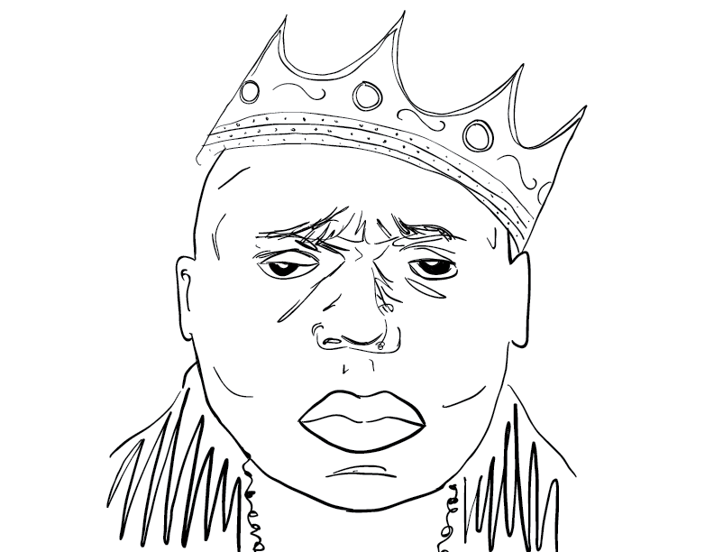 crude mono sketch of rap artist Biggie Smalls, the NOTORIOUS B.I.G.