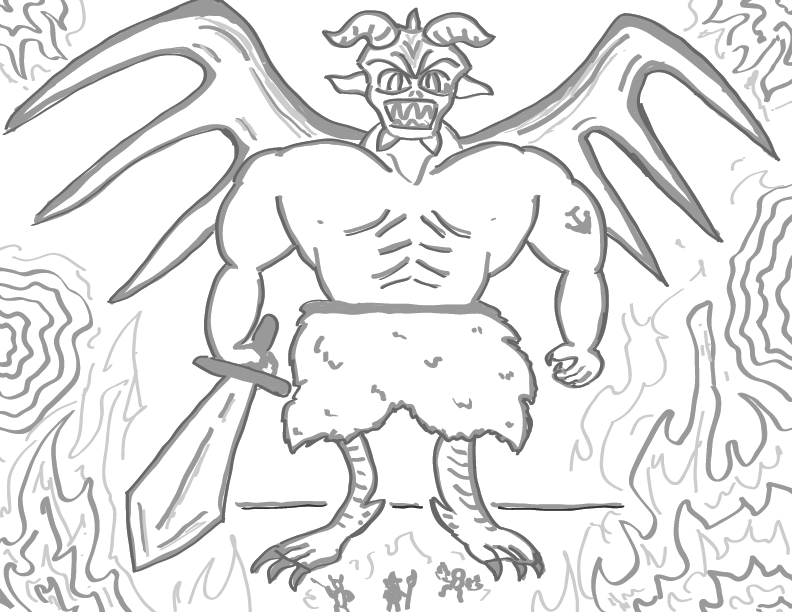 crude greyscale sketch of a giant demon with a sword facing off against a tiny team of people