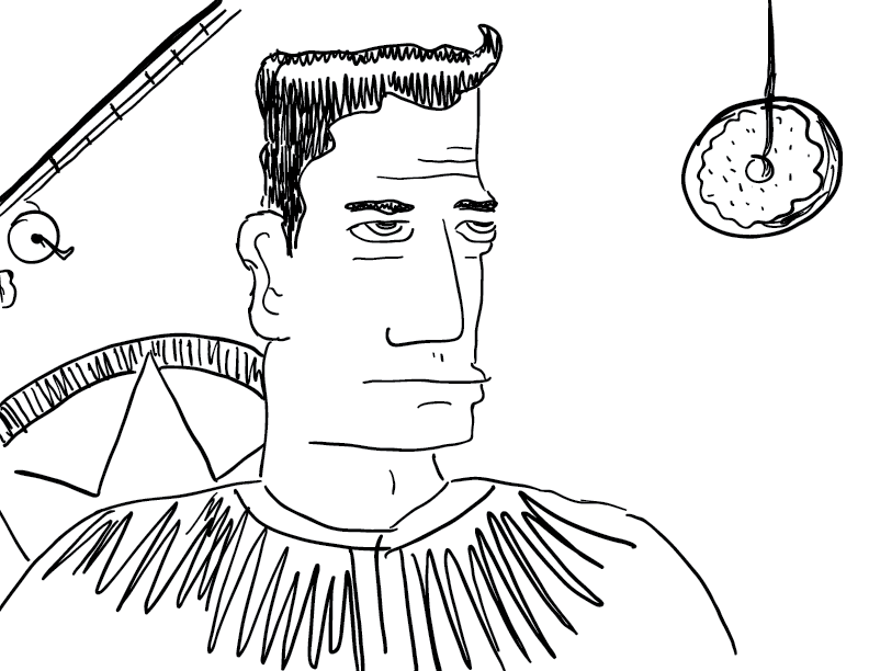 crude mono sketch of a dark-haired Captain America-like figure, unamused at someone trying to fish him with a doughnut lure