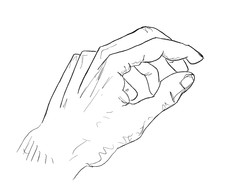 crude mono sketch of a left hand in a vague pinching position