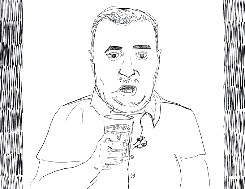 crude mono sketch of a host from youtube's redlettermedia frozen with his mouth open, holding a beer