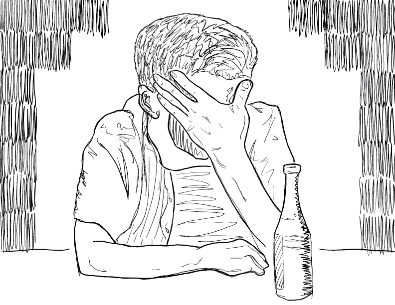 crude mono sketch of a host from youtube's redlettermedia, with his face in his hand and a beer at his side