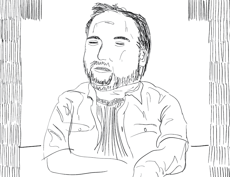 crude mono sketch of a host from youtube's redlettermedia, his eyes mostly closed