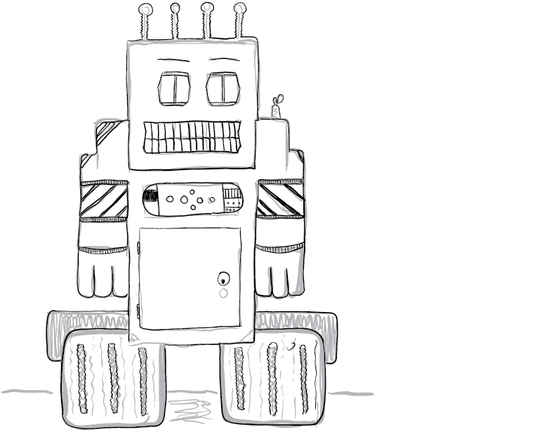 crude greyscale sketch of a skeevy-looking boxy robot on wheels