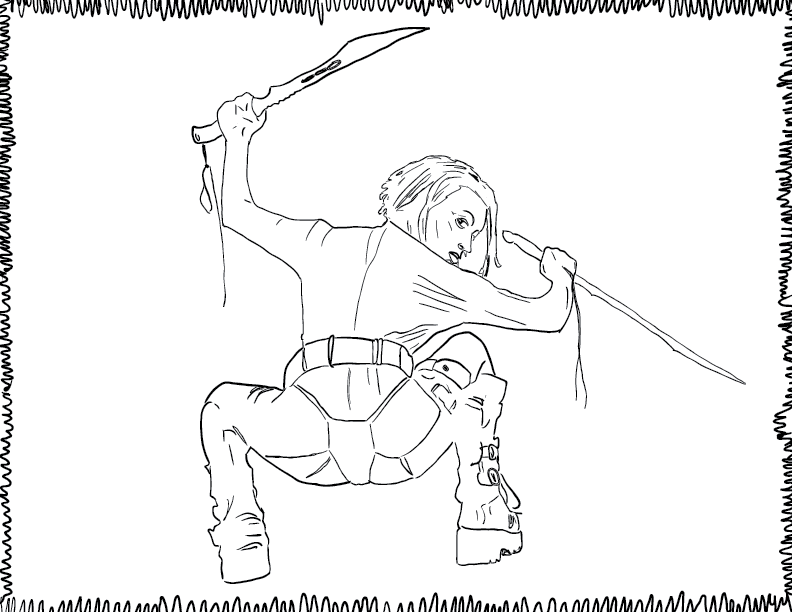 crude mono trace of a woman bearing two swords, looking over her shoulder in a squat position