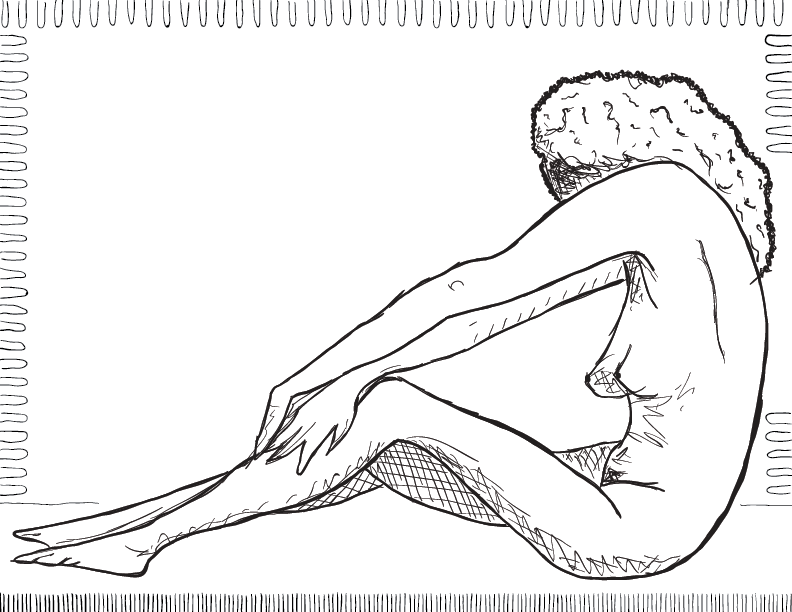 crude mono sketch of a nude female figure stretched out with her face hidden