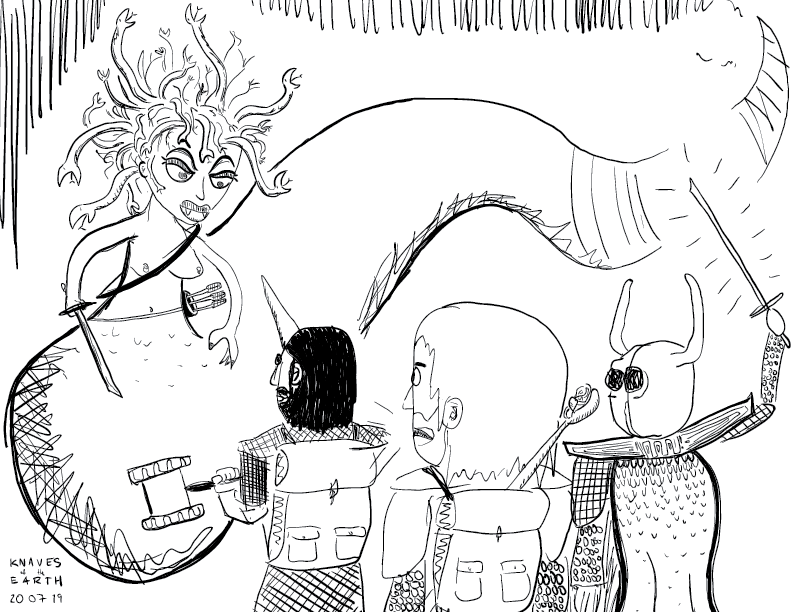 crude mono sketch of a greater medusa encountering a peculiar party of adventurers: the knaves of the earth