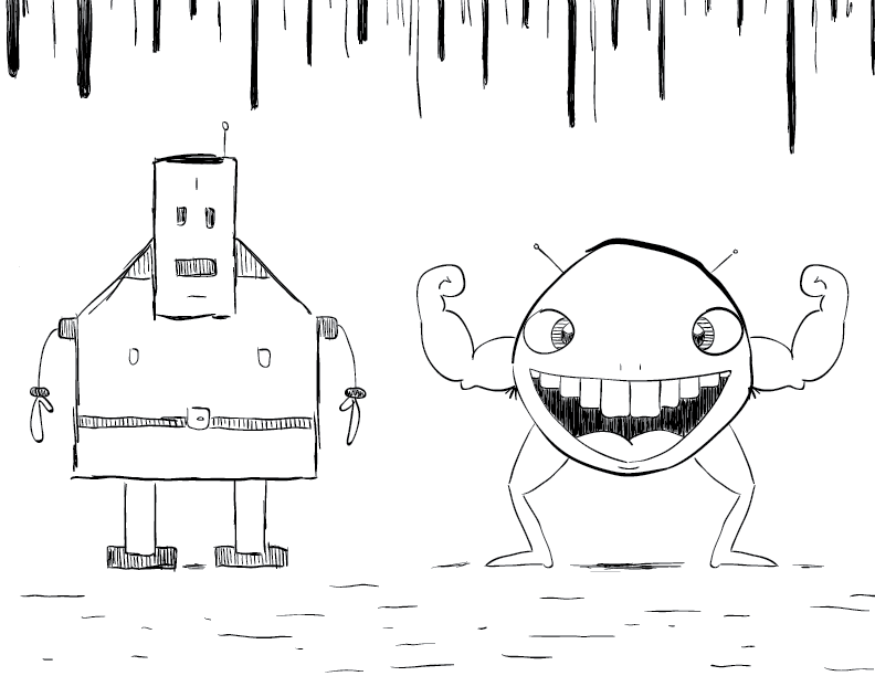 crude mono sketch of two creatures, one boxy and guileless, the other round and brash