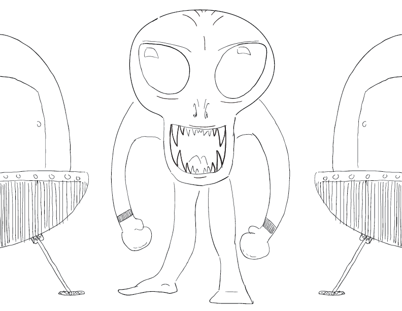 crude mono sketch of a big-headed biped with a wide, friendly grin and little spacecrafts