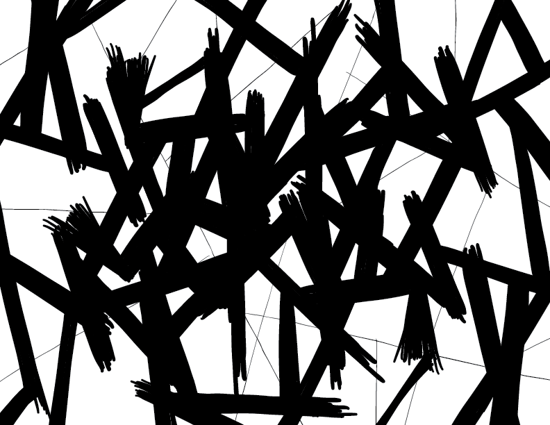 crude mono sketch of jagged sticks on thinner, fewer jagged sticks. title's a misnomer: there are no stones