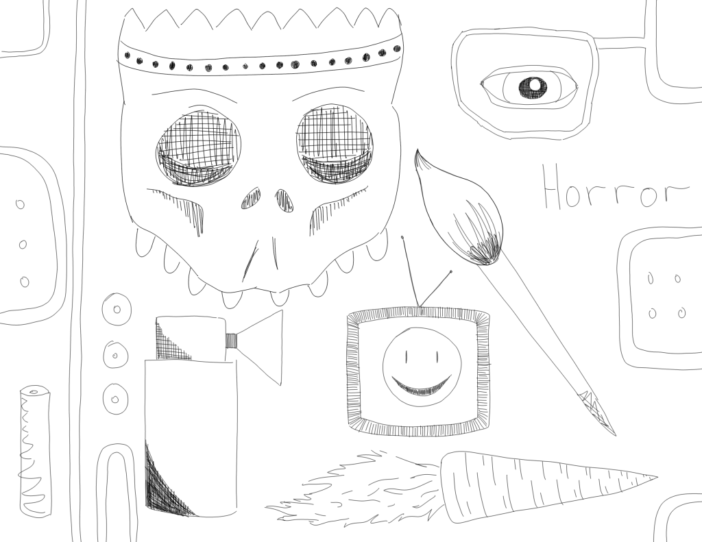 crude mono sketch of a bunch of objects including a skull, carrot, and paintbrush