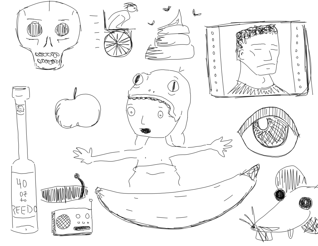 crude mono sketch of a bunch of unrelated objects, including a banana, a radio, and a rat