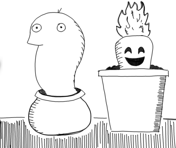 crude mono sketch of a happy growing carrot and some kind of slug