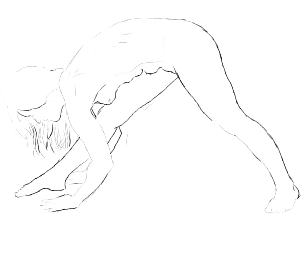 crude greyscale trace of a nude female figure bent and stretching