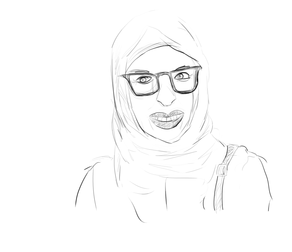 crude greyscale sketch of a smiling woman in glasses and a hijab