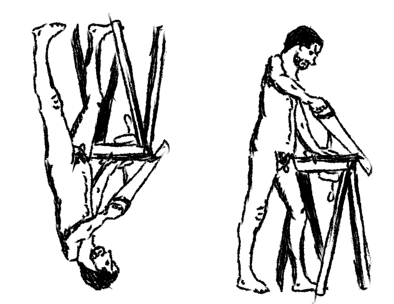 crude mono sketch of a nude male figure working at a sawhorse, doubled and flipped