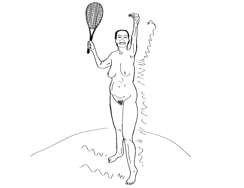 crude mono sketch of a nude female figure with a badminton shuttlecock thing and a racquet