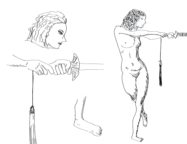 crude mono sketch of a nude female figure holding a sword, with various closeup studies thereof
