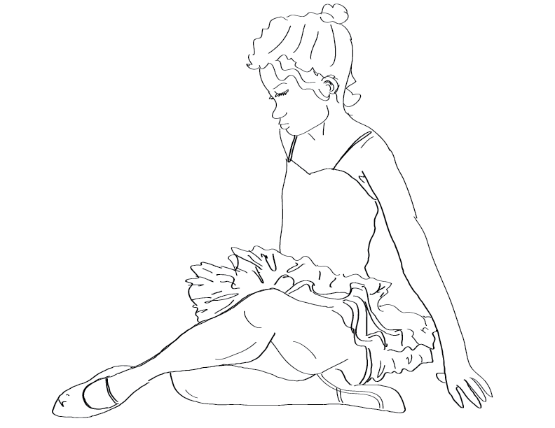 crude mono sketch of a ballet dancer girl at rest