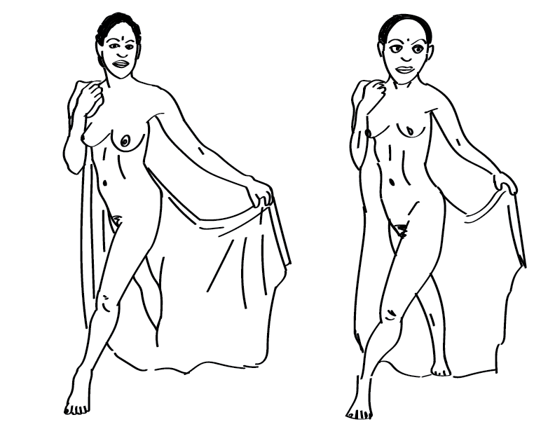 crude mono trace and sketch of a nude female figure draped in cloth