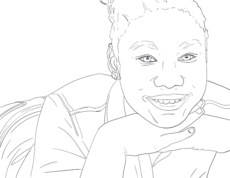 crude mono trace of a girl smiling at the viewer