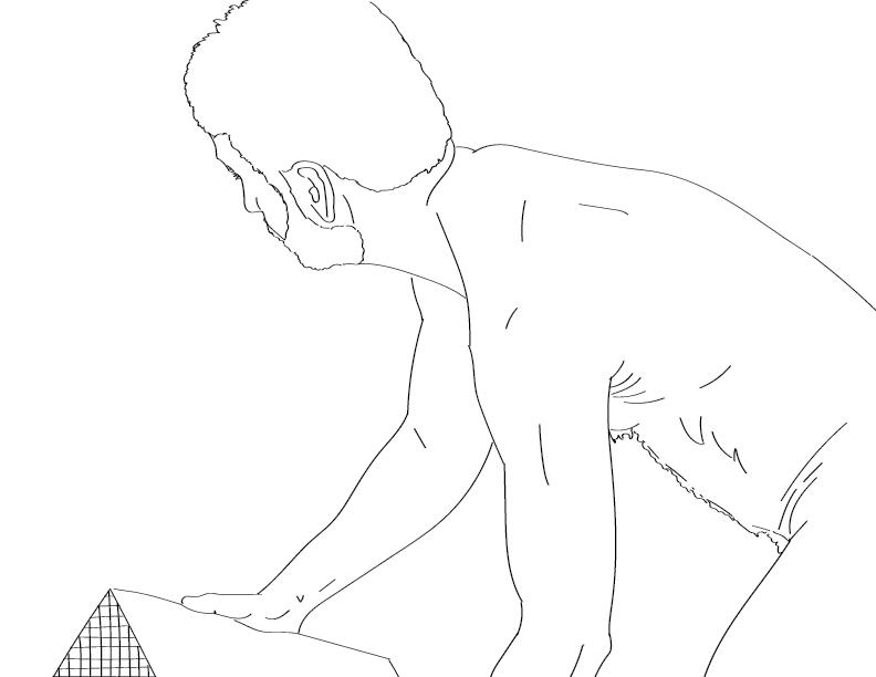 crude mono trace of a nude male figure lifting a box