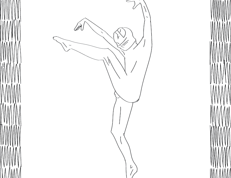 crude mono trace of a nude male figure with face wrappings striking some kind of crane pose