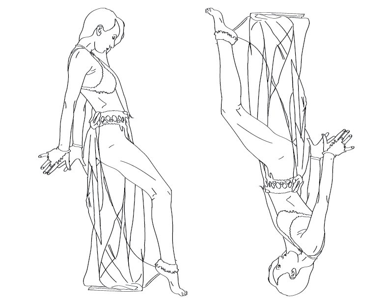 crude mono trace of a female figure in revealing attire, striking a pose, doubled and flipped