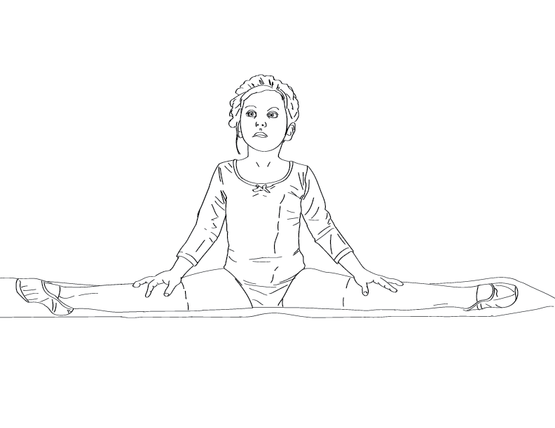 crude mono trace of a young ballerina stretching on a yoga mat