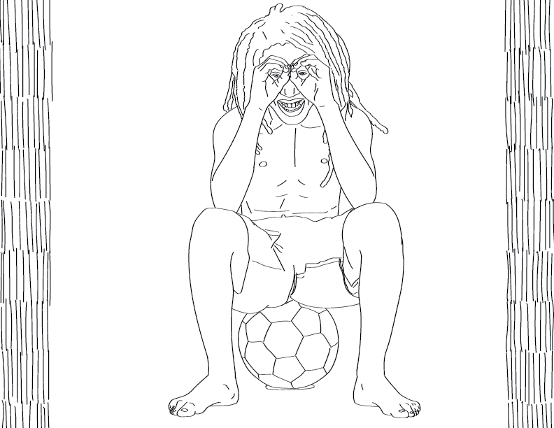 crude mono trace of a shirtless fellow sitting on a ball making eyeglasses of his hands, grinning
