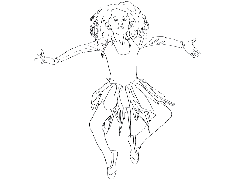 crude mono trace of a girl in a tutu frozen in mid-air