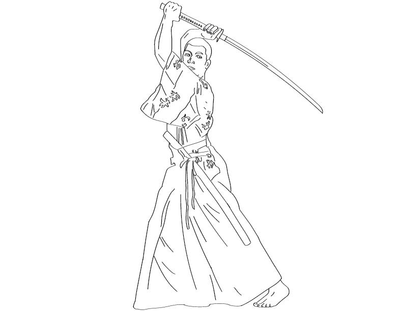 crude mono trace of a man in traditional Japanese-esque garb posing with a samurai-esque sword