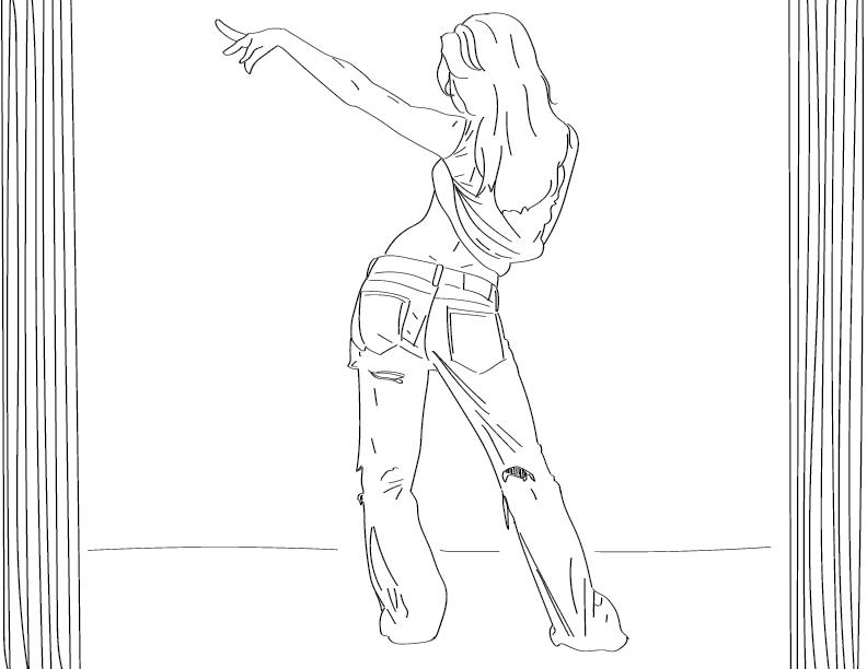 crude mono trace of a female figure striking a dance pose, viewed from behind