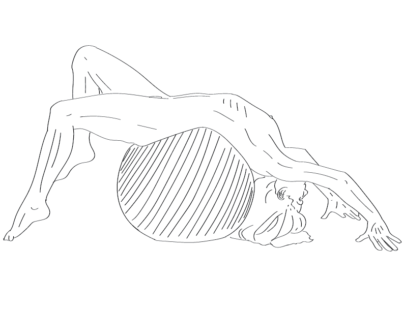 crude mono trace of a nude female figure bent over backwards on a yoga ball