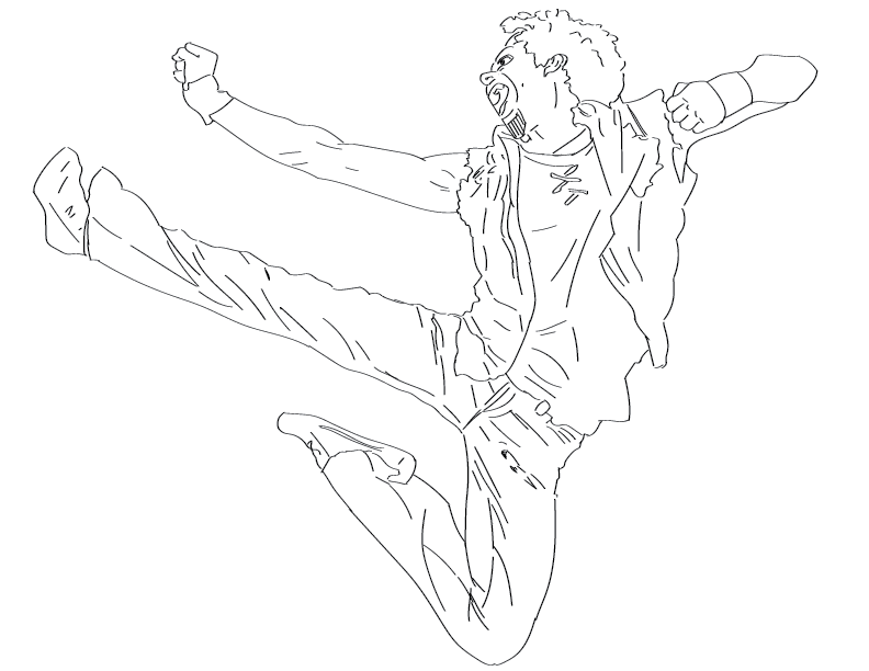 crude mono trace of a punkish looking fellow leaping through the air in a shounen-esque pose