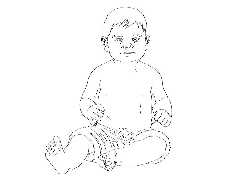 crude mono trace of a baby wearing wool pants