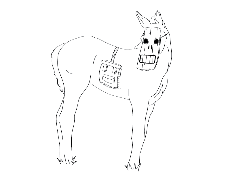 crude mono trace and sketch of a colt wearing saddlebags and a Tiki-esque mask