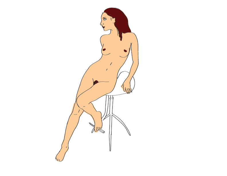 crude mono trace of a nude woman reclining on a stool