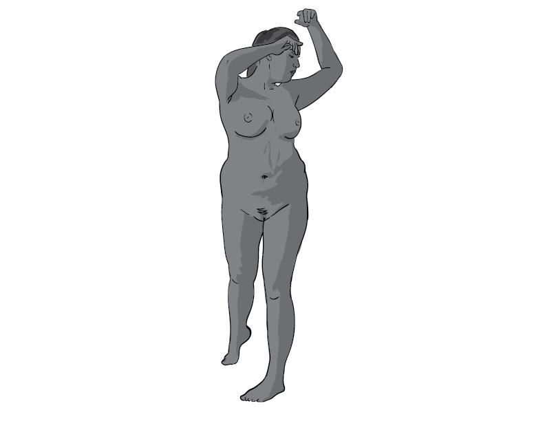 crude greyscale trace of a nude female figure posing